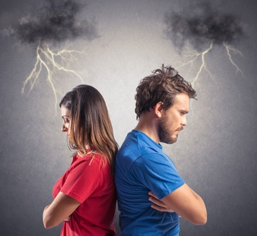Problem of a young couple with blacks clouds and lightning